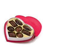 Caixa dada forma coração de doces de chocolate Fotografia de Stock