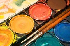 Caixa das aguarelas (vista próxima) Foto de Stock Royalty Free
