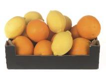 Caixa das laranjas e dos limões imagem de stock royalty free