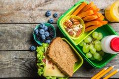 Caixa de almoço escolar saudável Fotos de Stock
