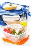 Caixa de almoço com sanduíche Imagens de Stock Royalty Free