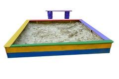 Caixa de areia e banco fotos de stock