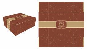 Caixa de bolo quadrada de Brown Imagem de Stock
