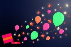 Caixa de brilho com uma surpresa e as bolas ilustração stock