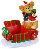 Caixa de brinquedo do rato do Natal Imagens de Stock