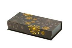 Caixa de Brown com os testes padrões amarelos Foto de Stock