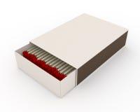 Caixa de cartão branca com fósforos Fotos de Stock Royalty Free