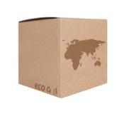 Caixa de cartão com o mapa ecológico EU+Asia do ícone foto de stock royalty free