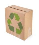 A caixa de cartão com recicl o símbolo Imagem de Stock