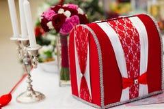Caixa de cartão do casamento Foto de Stock