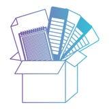 Caixa de cartão e de guia e de caderno e de folha da paleta de cores placa no roxo degradado ao contorno azul ilustração royalty free