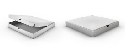 Caixa de cartão isométrica realística da pizza 3d Vista aberta, fechado, lateral ilustração do vetor