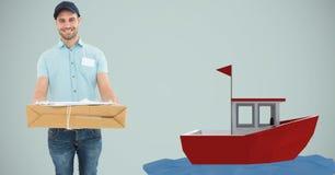 Caixa de cartão levando do homem de entrega pelo barco 3d Imagem de Stock Royalty Free