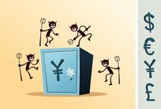 Caixa de cofre-forte atacada pelo ladrão Imagem de Stock Royalty Free