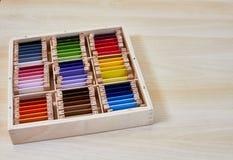 Caixa de cor 3 de Montessori fotografia de stock royalty free