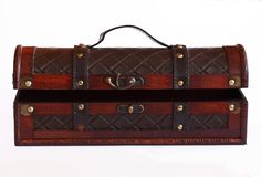 Caixa de couro e de madeira Fotos de Stock Royalty Free