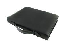Caixa de couro preta clássica isolada no branco Imagem de Stock Royalty Free
