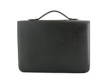 Caixa de couro preta isolada no branco Fotos de Stock Royalty Free
