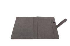 Caixa de couro preta no fundo branco Fotografia de Stock