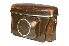 Caixa de couro velha da câmera. Imagens de Stock