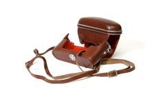 A caixa de couro vermelha vazia da câmera da foto do vintage é Imagens de Stock Royalty Free