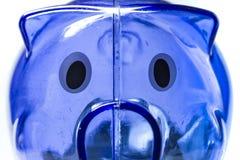 Caixa de dinheiro azul do porco Fotos de Stock Royalty Free