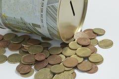 Caixa de dinheiro com euro Imagem de Stock Royalty Free