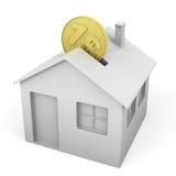 Caixa de dinheiro dada forma casa Imagem de Stock