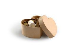 Caixa de dinheiro do coração Fotografia de Stock Royalty Free