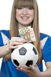 Caixa de dinheiro do futebol das meninas imagem de stock royalty free