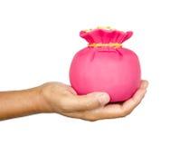 Caixa de dinheiro do saco do rosa das economias da posse da mão Fotos de Stock