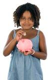 Caixa de dinheiro do whit da menina Fotografia de Stock