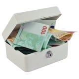 Caixa de dinheiro e euro Fotos de Stock Royalty Free