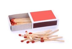 Caixa de fósforos isolados no branco Foto de Stock Royalty Free