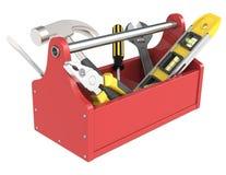 Caixa de ferramentas com ferramentas. Imagem de Stock