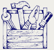 Caixa de ferramentas com ferramentas Imagem de Stock