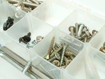 Caixa de ferramentas com parafusos Fotografia de Stock