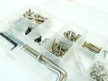 Caixa de ferramentas com parafusos Imagem de Stock