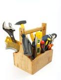 Caixa de ferramentas de madeira Fotografia de Stock Royalty Free