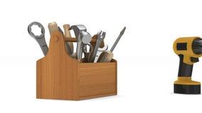 Caixa de ferramentas de madeira com ferramentas 3d rendem vídeos de arquivo