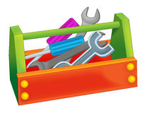 Caixa de ferramentas dos desenhos animados Foto de Stock Royalty Free