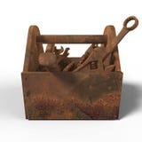 Caixa de ferramentas exausto manchada com ferramentas oxidadas, chave, chave inglesa, martelo, chave de fenda render reparo mau d Fotografia de Stock Royalty Free