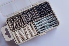 Caixa de ferramentas para o parafuso do metal, porca, parafuso, prego Fotografia de Stock