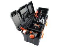Caixa de ferramentas plástica com ferramentas foto de stock