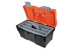 A caixa de ferramentas vazia aberta fez a ofo preto eo orangotango plásticos do materialFoto de Stock