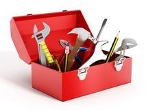 Caixa de ferramentas vermelha completamente de ferramentas da mão Fotografia de Stock Royalty Free
