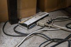 Caixa de interruptor velha e suja da impressora para a porta paralela Fotografia de Stock Royalty Free