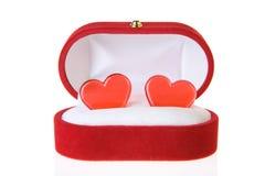 Caixa de jóia com corações Fotos de Stock Royalty Free