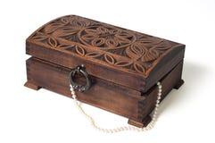 Caixa de jóia de madeira Fotos de Stock