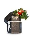 Caixa de jóia do Natal isolada com trajeto de grampeamento foto de stock royalty free